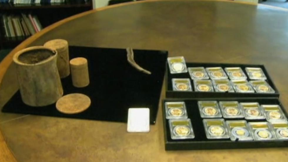 Las monedas fueron desenterradas en febrero de 2013 por la pareja de esposos, quienes desean que no se den a conocer sus nombres.