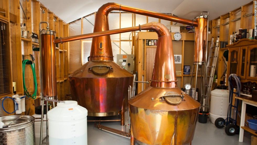 Some of the world's finest single malt is distilled in the Overeem's garage at the family's suburban home in Hobart, the capital of Tasmania.