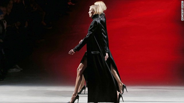 Polish model Anja Rubik presents a creation by Anthony Vaccarello during the 2014 Autumn/Winter ready-to-wear collection fashion show, on February 25, 2014 in Paris. AFP PHOTO / PATRICK KOVARIKPATRICK KOVARIK/AFP/Getty Images