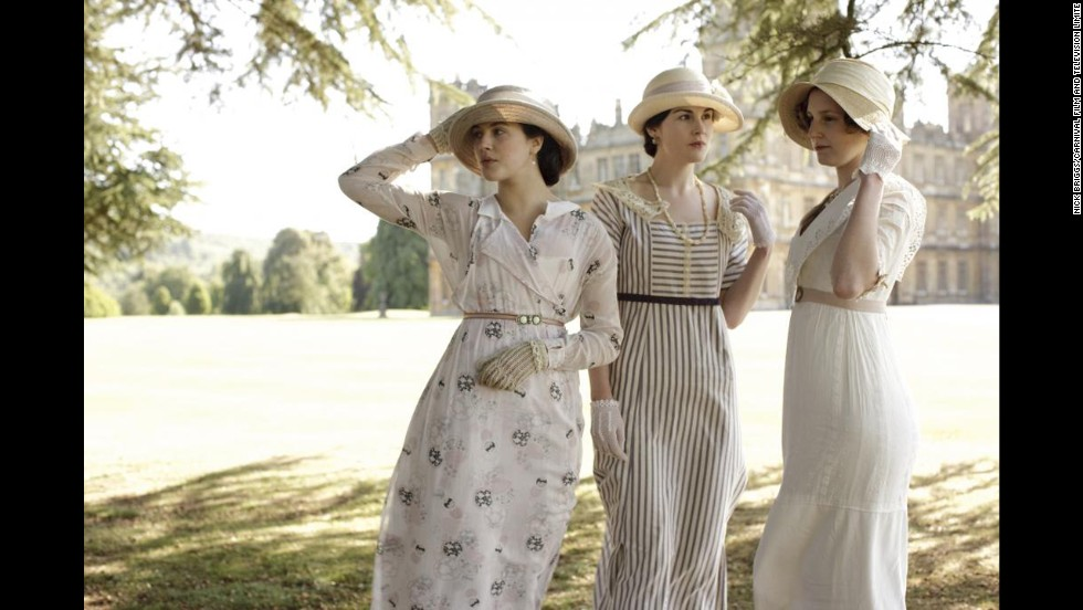 The Crawley sisters attend a garden party on the estate. Lady Cybil, left, is wearing a vintage dress, one of a few nearly 100 percent vintage pieces in the Winterthur exhibit.