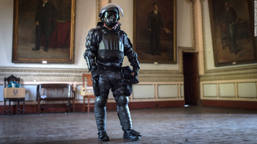 Body armor for paramilitary police is seen at the end of a drill in Rio de Janeiro on Wednesday, February 26.