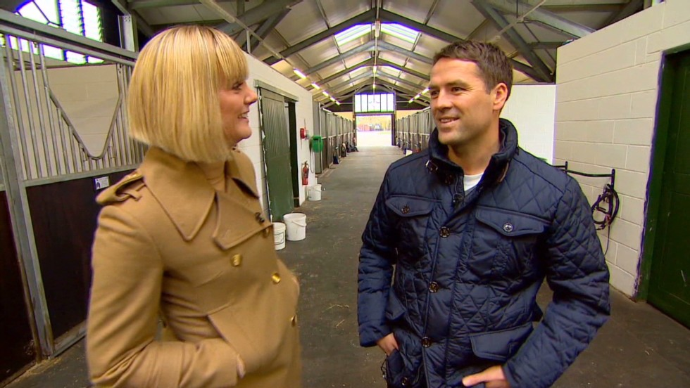 Owen shows CNN's Amanda Davies around his stables, which are home to 90 horses and boast an equine pool and vet center.