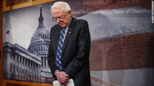Veterans Affairs chairman Sen. Bernie Sanders stands in defeat after the Senate derailed his veterans' benefits bill.