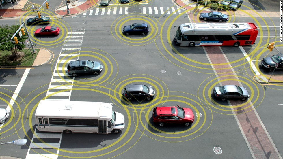 "Emerging technology from several automakers promises<a href=""http://www.cnn.com/interactive/2014/02/tech/cnn10-future-of-driving/"" target=""_blank""> vehicles that can communicate</a> with each other about weather, traffic and road conditions and, more urgently, warn each other when a wreck is imminent."