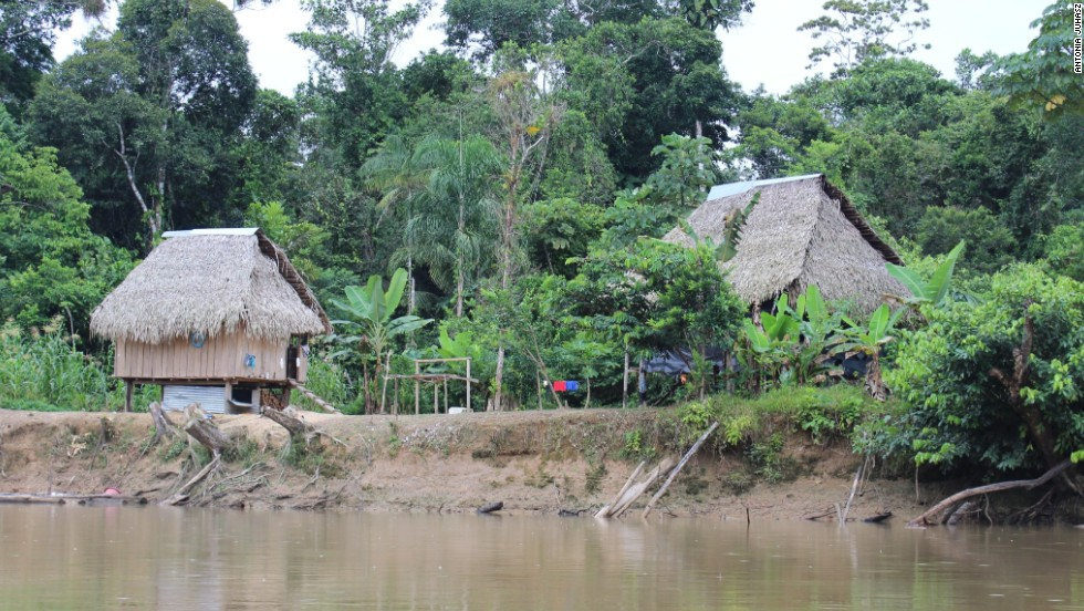 Llanchama, as seen from the waterway running through it. The waterways wending their way through Yasuni are a vital lifeline for villagers here.