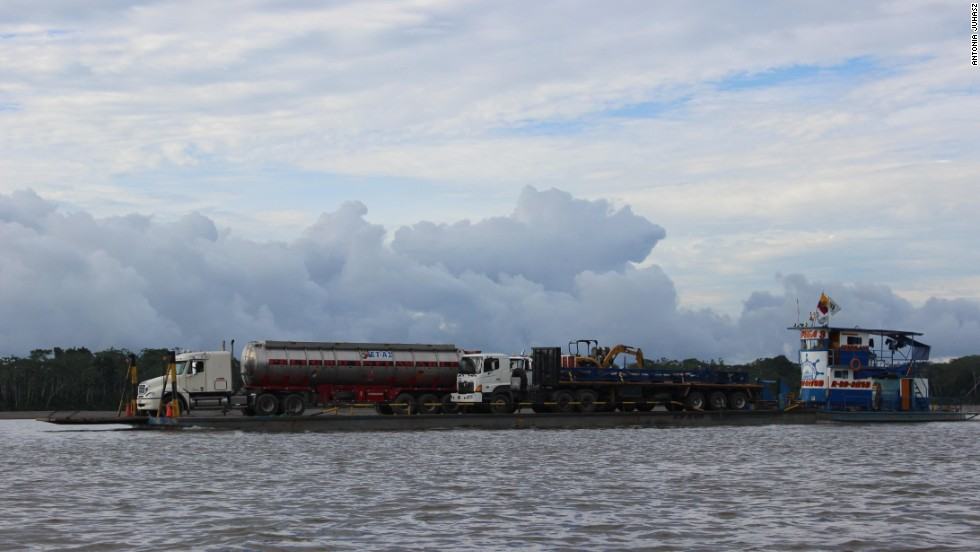 The Napo River, which marks the entire northern edge of the Yasuni, is now a major industrial highway with a constant flow of giant barges carrying equipment to support oil operations into the forest.