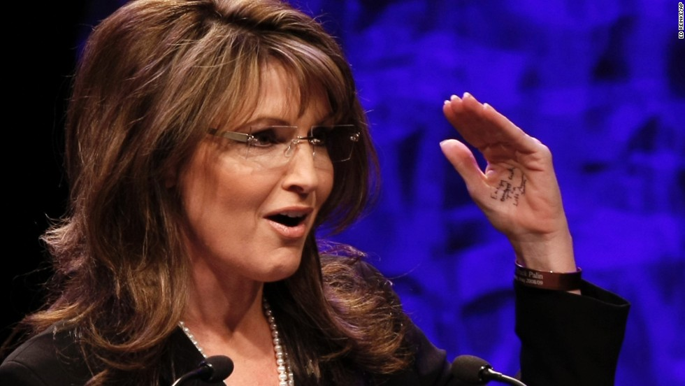 Sarah Palin headlined the first national tea party convention in Nashville in 2010. Though she criticized President Barack Obama for reading from teleprompters, she was quickly called out for the speech notes written on her hand.