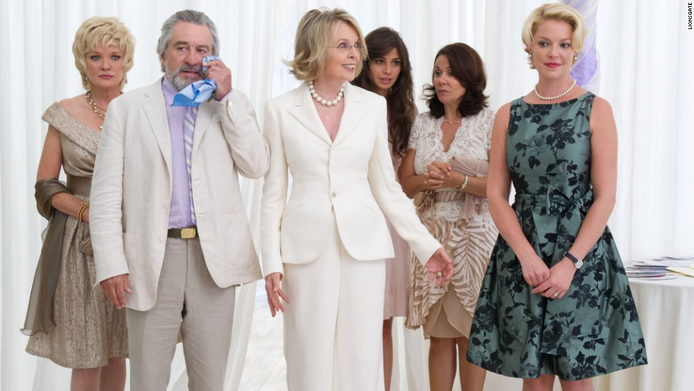 "Christine Ebersole, Robert De Niro, Diane Keaton, Ana Ayora, Patricia Rae and Katherine Heigl star in the ensemble comedy ""The Big Wedding"" in 2013."