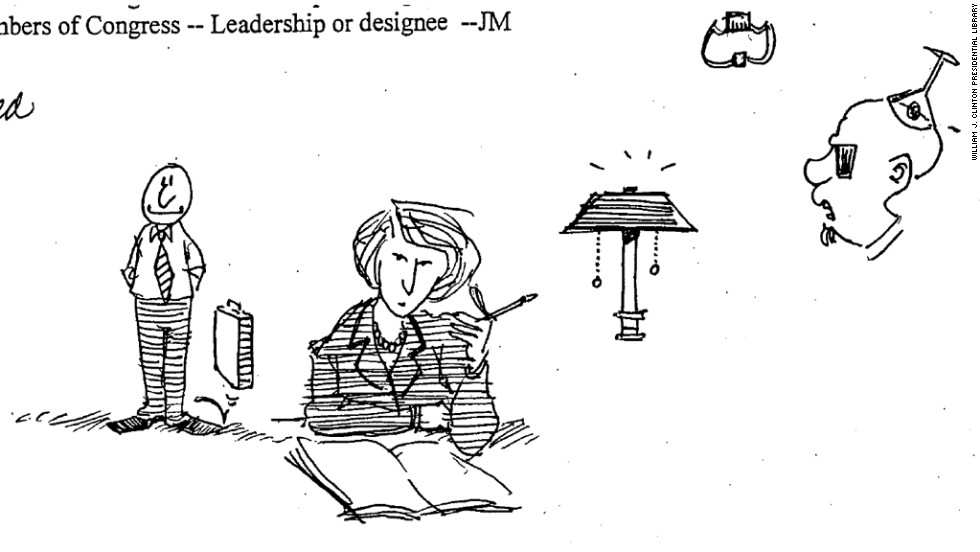 The light's on in this Sheshol doodle, found in May 6, 1999, notes about a White House strategy session on children and violence.
