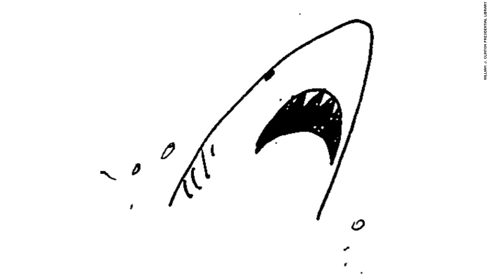 Shark! This doodle by Sheshol was also found on a May 18, 1998, memo about an MIT commencement address.