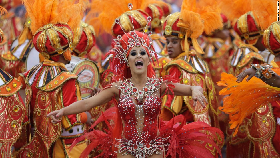 A dancer from the Tom Maior samba school performs during a carnival parade in Sao Paulo, Brazil, on March 1.