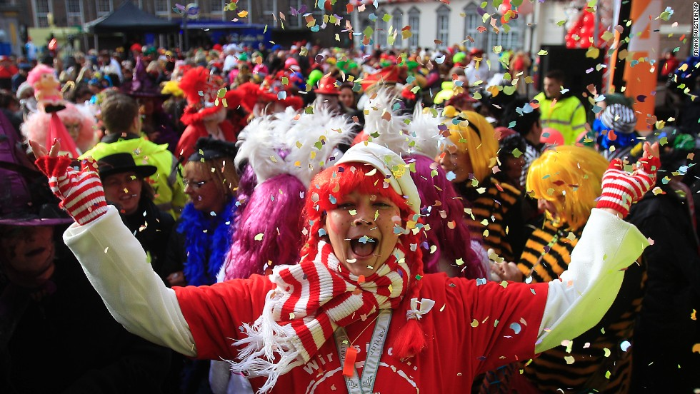 A reveler celebrates carnival festivities in Dusseldorf, Germany, on February 27.