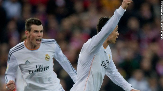 Cristiano Ronaldo celebrates with Gareth Bale in close attendance as he equalizes for Real Madrid.