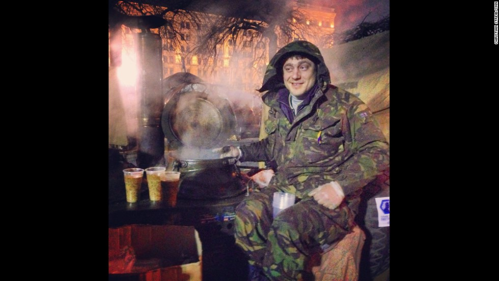 "KIEV, UKRAINE:  ""27-year old Bogdan sits on top of his Russian-made soup kitchen in Indepence -- or Maidan -- Square on March 2. He's been sitting there for the last three months serving delicious Ukrainian grechaniy soup. It's made of buckwheat, lentil, coriander and beef. Amazing taste."" - CNN's Christian Streib.  Follow Christian on Instagram at <a href=""http://instagram.com/christianstreibcnn"" target=""_blank"">instagram.com/christianstreibcnn</a>."