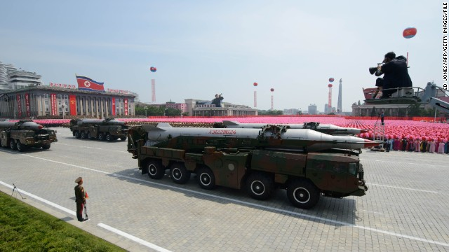 An unidentified North Korean missile is displayed during a military parade past Kim Il-Sung square marking the 60th anniversary of the Korean war armistice in Pyongyang on July 27, 2013. North Korea mounted its largest ever military parade on July 27 to mark the 60th anniversary of the armistice that ended fighting in the Korean War, displaying its long-range missiles at a ceremony presided over by leader Kim Jong-Un. AFP PHOTO / Ed Jones (Photo credit should read Ed Jones/AFP/Getty Images)