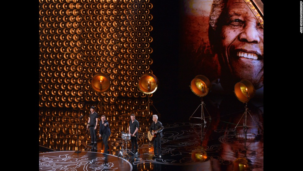 "U2 performs its Oscar-nominated song ""Ordinary Love"" from the movie ""Mandela: Long Walk To Freedom."""