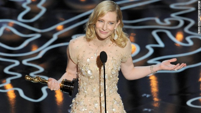Cate Blanchett accepts the best actress Oscar last year.