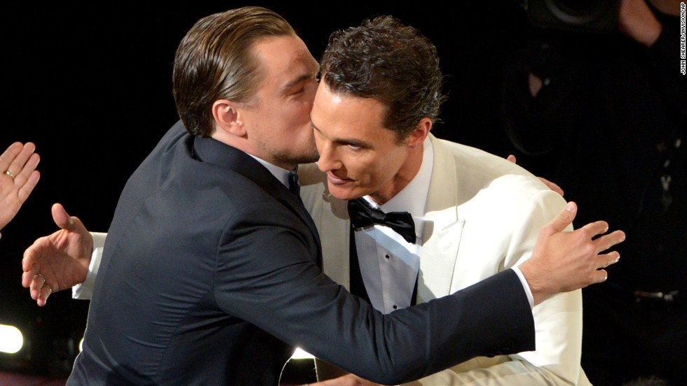 "Leonardo DiCaprio, left, congratulates Matthew McConaughey for winning the best actor Oscar for ""Dallas Buyers Club."" DiCaprio, who starred in ""The Wolf of Wall Street,"" was also up for the award."