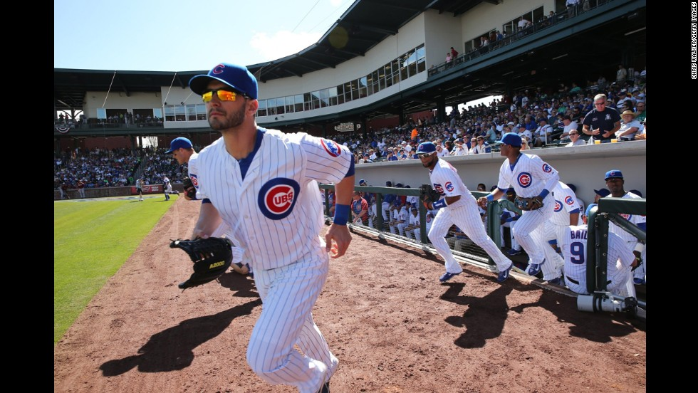 The Chicago Cubs take the field for a Cactus League game against the Arizona Diamondbacks on Thursday, February 27, in Mesa, Arizona.