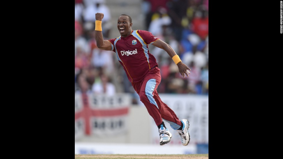 Dwayne Bravo, a cricketer from the West Indies, celebrates Sunday, March 2, during the second match of the One Day International series between the West Indies and England in Antigua.