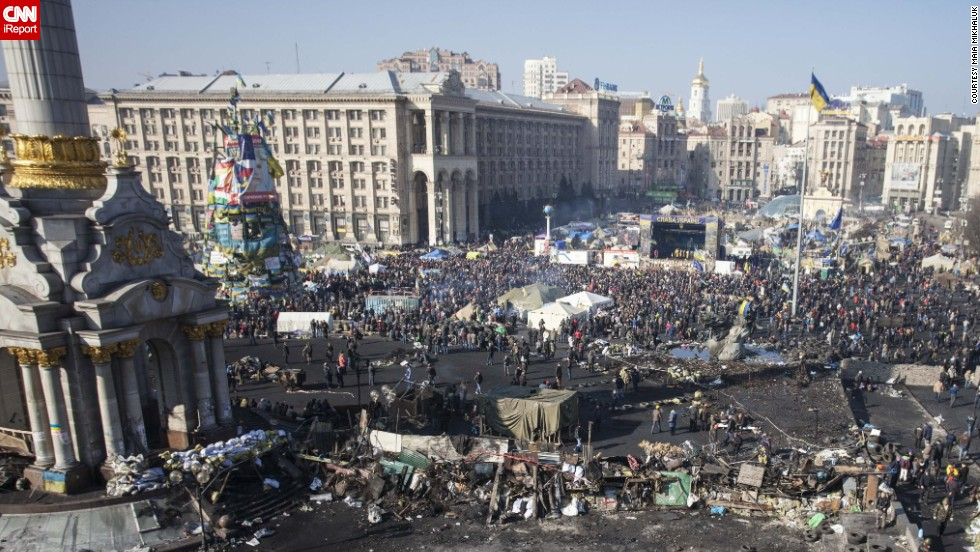 "Independence Square after a week of protests.""This sunny day felt like <a href=""http://ireport.cnn.com/docs/DOC-1093168"">spring cleaning</a>, like taking care of our home together!"" Mikhaluk said."