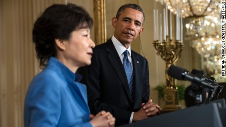 South Korean President Park Geun-hye meets US President Obama in 2013, shortly after taking power.