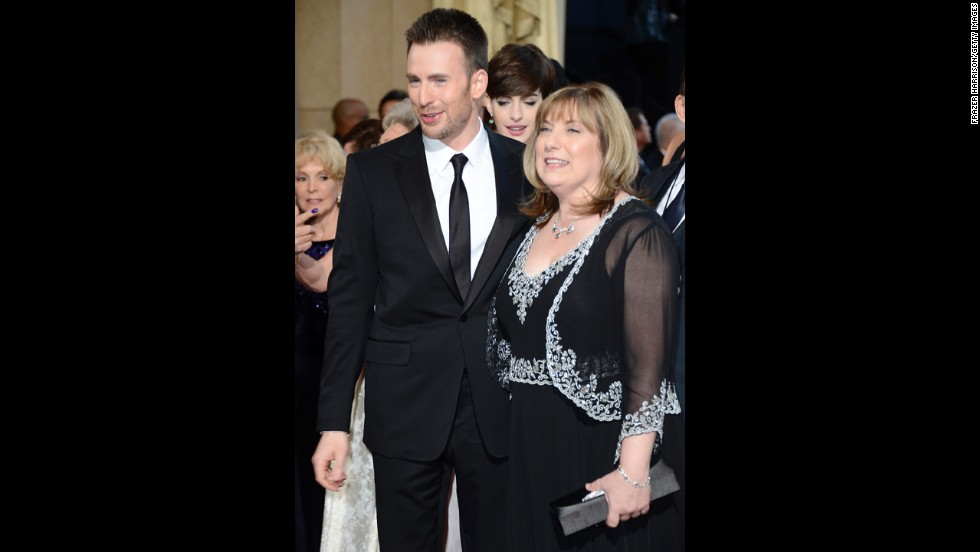 Chris Evans and mother Lisa Evans arrive at the Oscars on February 24, 2013, in Hollywood, California.