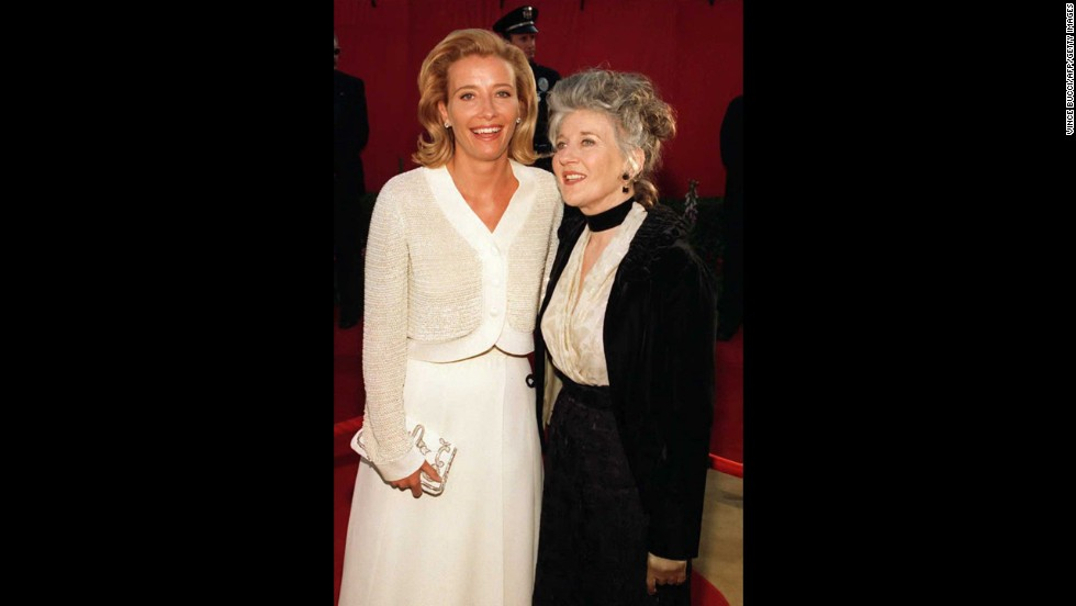 "Emma Thompson, left, arrives with her mother, Phyllida Law, at the 68th Annual Academy Awards in Los Angeles. Thompson was nominated for Best Actress and won the award for Best Adapted Screenplay, both for the film ""Sense and Sensibility."""