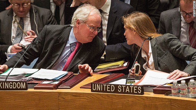 NEW YORK, NY - MARCH 03: United Kingdom Ambassador to the United Nations (UN), Mark Lyall Grant and United States Ambassador to the UN, Samantha Power, speak before a UN Security Council meeting on March 3, 2014 in New York City. As tensions between Russian's occupation of parts of Ukraine intensifies, the Security Council has continued to meet in an effort to find a solution. (Photo by Andrew Burton/Getty Images)