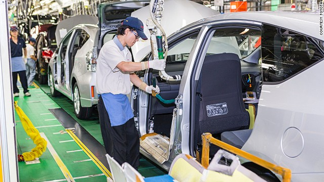 At Toyota's Motomachi plant, visitors watch production from a series of bridges overhead.
