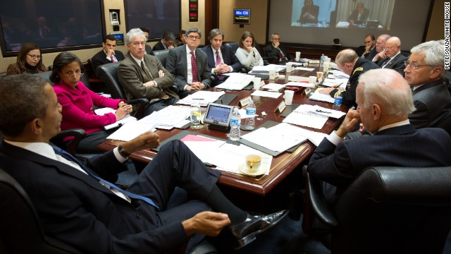 President Barack Obama convenes a National Security Council meeting in the Situation Room of the White House to discuss the situation in Ukraine on Monday, March 3, 2014.