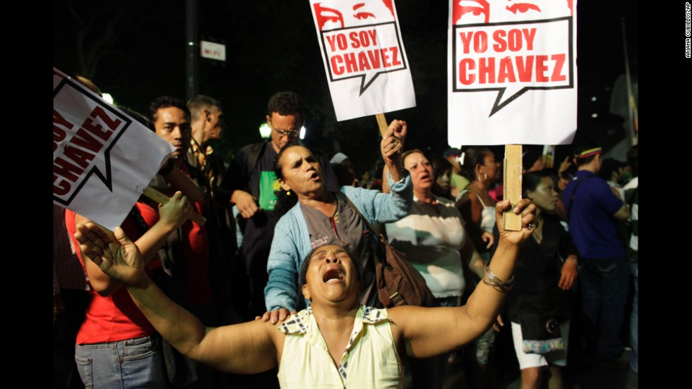 Chavez supporters gather in Caracas' Bolivar Square to mourn Chavez's death on March 5, 2013.
