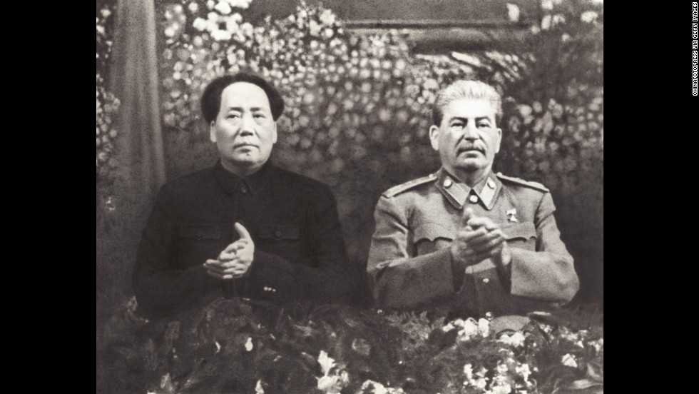 In June 1949, Chinese Communists declared victory over Chiang Kai-shek's Nationalist forces, who later fled to Taiwan. On October 1, Mao Zedong proclaimed the People's Republic of China. Two months later, Mao (left)  traveled to Moscow to meet with Josef Stalin (right) and negotiate the Sino-Soviet Treaty of Friendship, Alliance and Mutual Assistance.