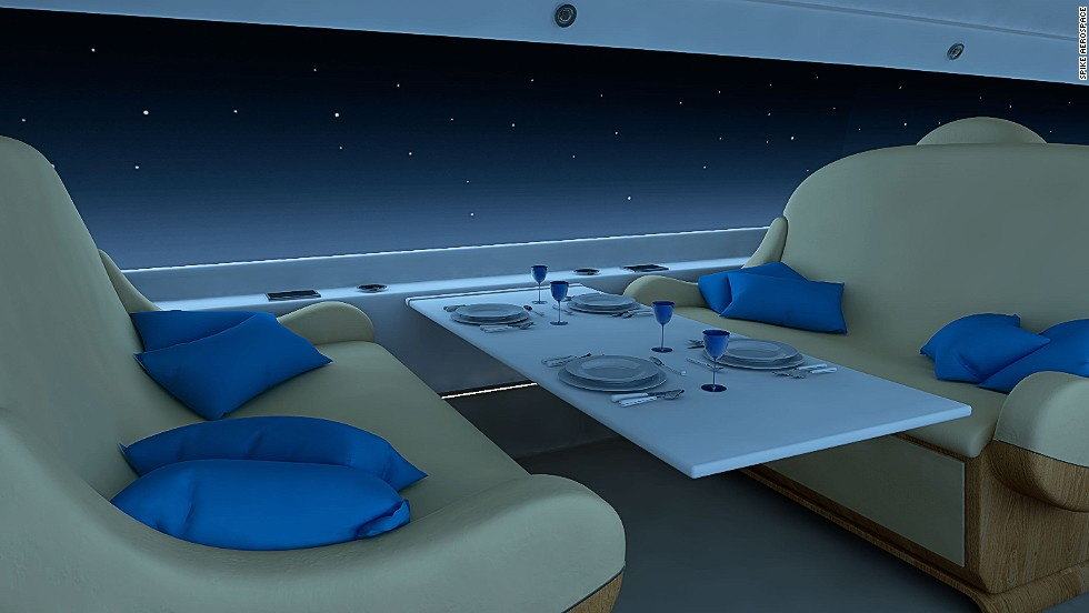 In the evening, travelers can opt to dim the screens. If a passenger would rather not look at the landscape, they can choose to play a movie on the walls of the cabin instead.