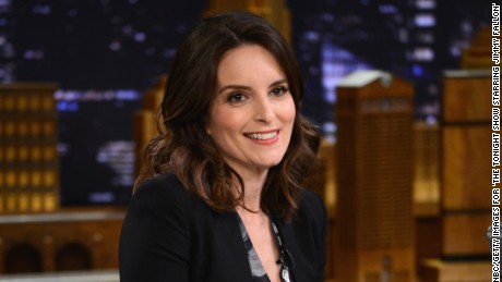 "Tina Fey shares a laugh with Jimmy Fallon on ""The Tonight Show"" on March 3."