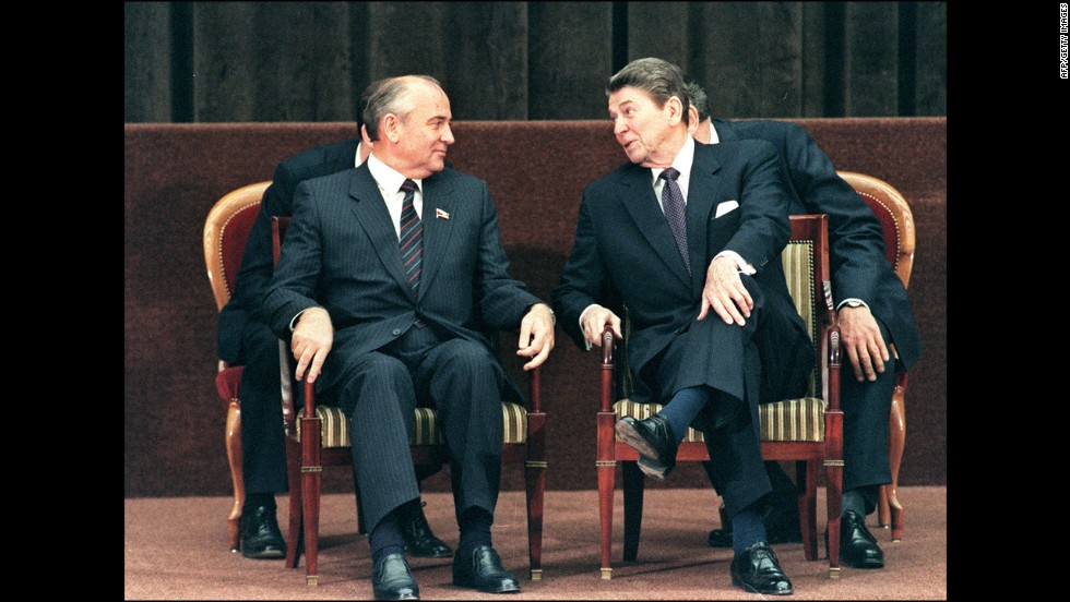President Ronald Reagan talks to Soviet leader Mikhail Gorbachev during a two-day summit between the superpowers in Geneva, Switzerland on November 21, 1985. Gorbachev ushered in an era of economic reforms under perestroika and greater political freedoms under glasnost. Two years later, Reagan and Gorbachev signed the Intermediate Range Nuclear Forces Treaty in Washington. It mandated the removal of more than 2,600 medium-range nuclear missiles from Europe, eliminating the entire class of Soviet SS-20 and U.S. Cruise and Pershing II missiles.