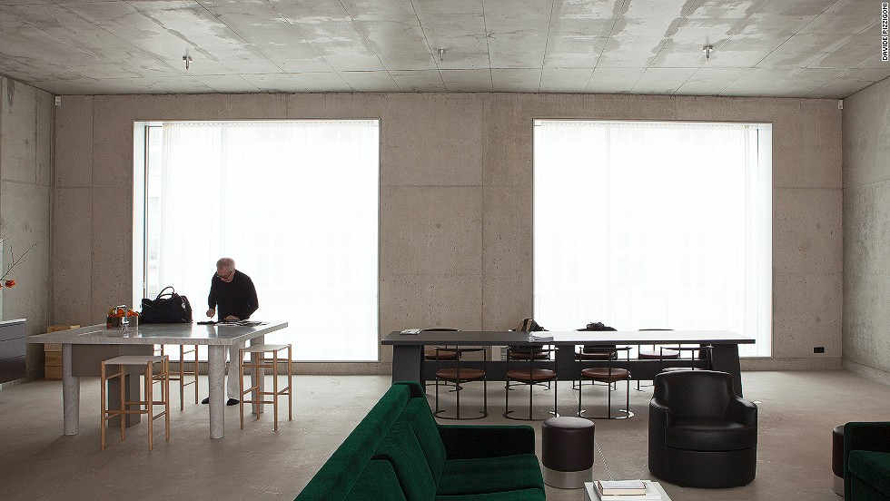 "<em>David Chipperfield, Berlin </em><br /><br />Molteni says the house is not as cold as you might think, and much of the warmth extends from Chipperfield himself. ""He was walking around with no shoes and was very comfortable having the crew around,"" she says. ""The more they are living in the house, the more the concrete will disappear. It's just a frame for the people and objects."""