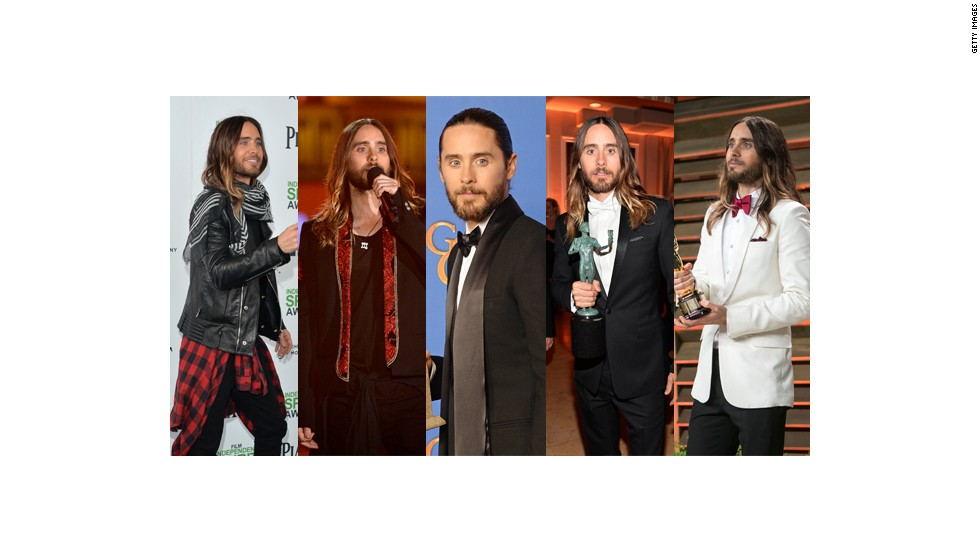 From left, Jared Leto wears a leather jacket, flannel and black jeans at the Spirit Awards; Balmain and Saint Laurent at the Grammy Awards; Saint Laurent at the Golden Globes; Dior at the Screen Actors Guild Awards; and a Saint Laurent jacket with a Monsieur Jean Yves Paris bow tie at the Oscars.