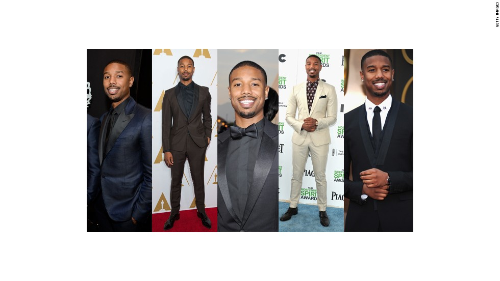 From left, Michael B. Jordan wears Lanvin at the People's Choice Awards, custom Prada at the Academy Of Motion Picture Arts and Sciences' Scientific And Technical Awards, Christian Dior Homme at the NAACP Image Awards, Dolce & Gabbana at the Spirit Awards and Givenchy at the Oscars.