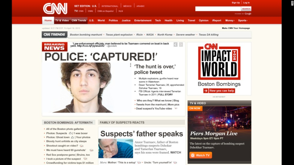 CNN.com's homepage in April of last year, after suspect Dzhokhar Tsarnaev was arrested in connection with the Boston Marathon bombings. Tsarnaev has pleaded not guilty to killing four people and wounding more than 200.