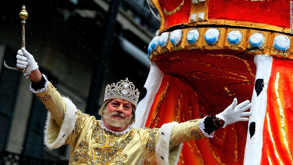 The King of Rex greets revelers during the parade in New Orleans.
