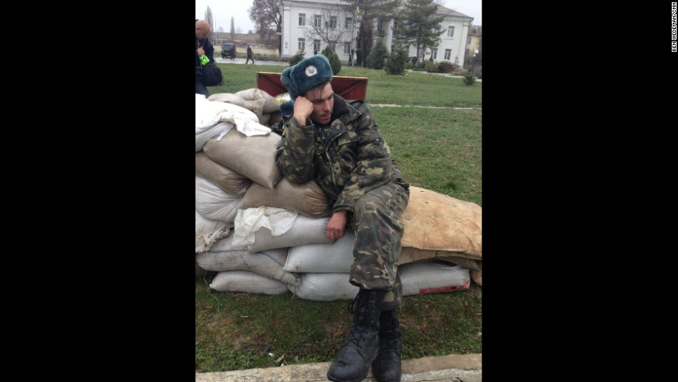 "SEVASTOPOL, UKRAINE:  ""A weary Ukrainian soldier after a five-day standoff at the Belbak air base outside Sevastopol, Crimea, on March 5."" - CNN's Ben Wedeman.  Follow Ben on Instagram at <a href=""http://instagram.com/bcwedeman"" target=""_blank"">instagram.com/bcwedeman</a>."