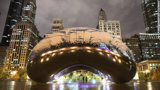 Cloud Gate (also known as The Bean) in Milennium Park.