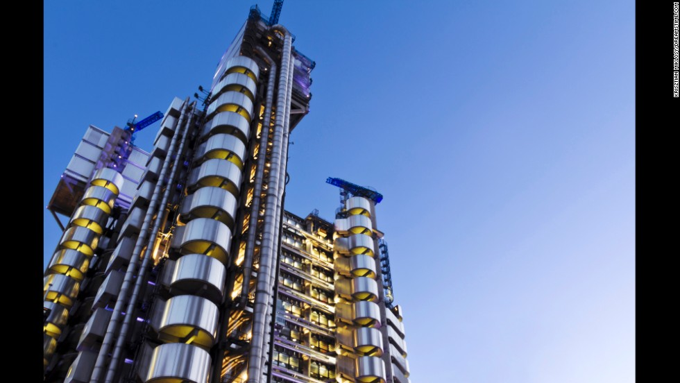 The Lloyd's building in London was designed inside out, and the 12 glass elevators travel along the exterior, offering sweeping city views.