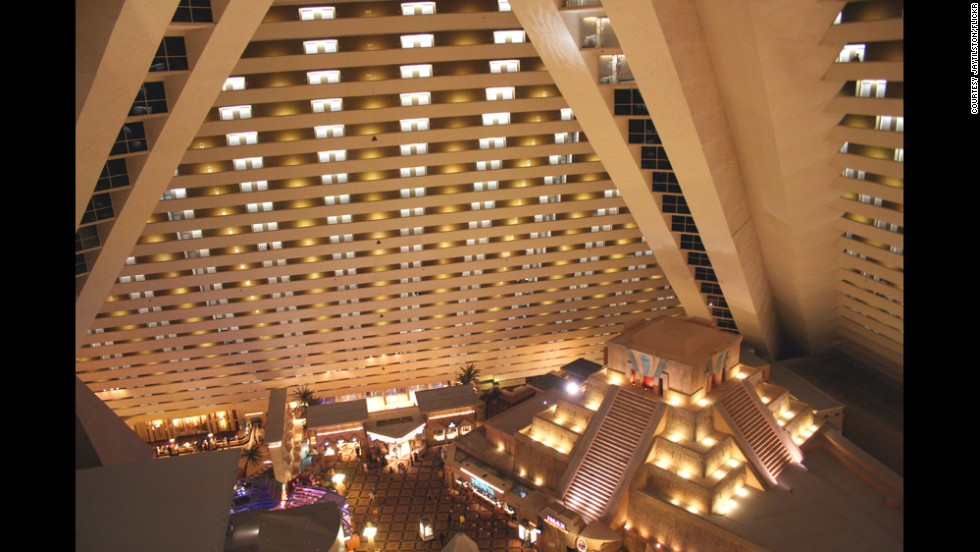 Elevators at the Luxor hotel in Las Vegas travel at a sharp 39-degree angle.