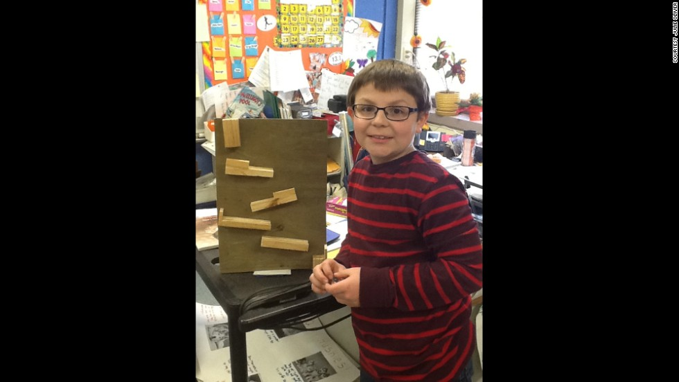 Students in Julie Oliver's third-grade class at Warner Elementary School in Spring Arbor, Michigan, spend about 60 minutes a week working on projects of their own creation. Jesse Pratt, 8, learned how to make a marble run. He used class time to design the marble run and built the final product at home with his father.