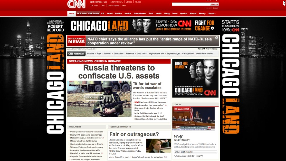 CNN.com is seen last week featuring a story about the standoff between the United States and Russia over Ukraine.