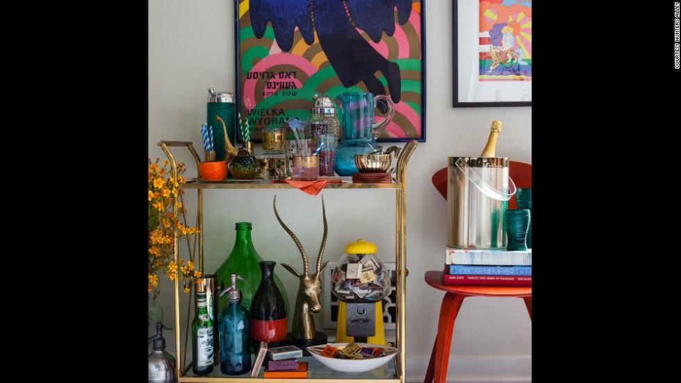 Vintage barware -- and vintage bars -- are easy flea market finds.