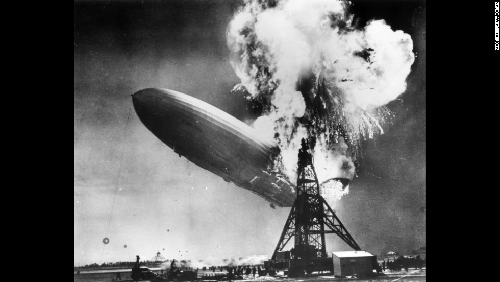 The Hindenburg zeppelin bursts into flames in Lakehurst, New Jersey, in May 1937.