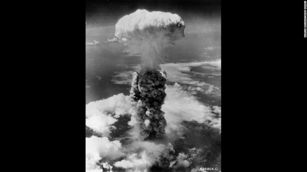 A mushroom cloud rises above Nagasaki, Japan, in August 1945 after an atomic bomb was dropped on the city.
